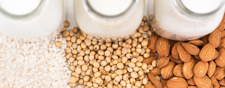 Reis, Sojabohnen und Mandeln liegen vor ihren jeweiligen Milchalternativen.