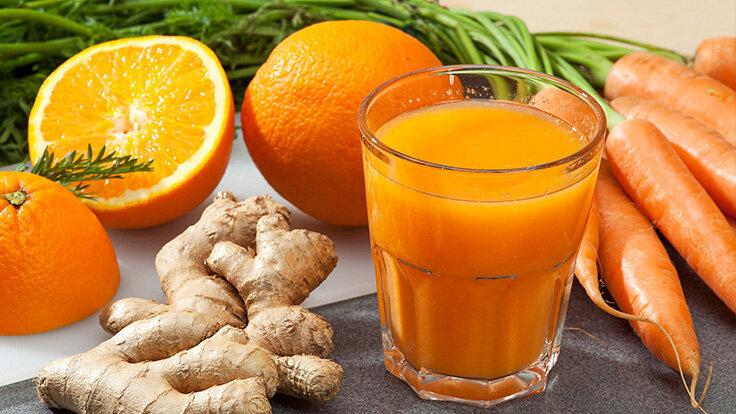 Saft-Rezept: Karotte-Ingwer-Orangensaft
