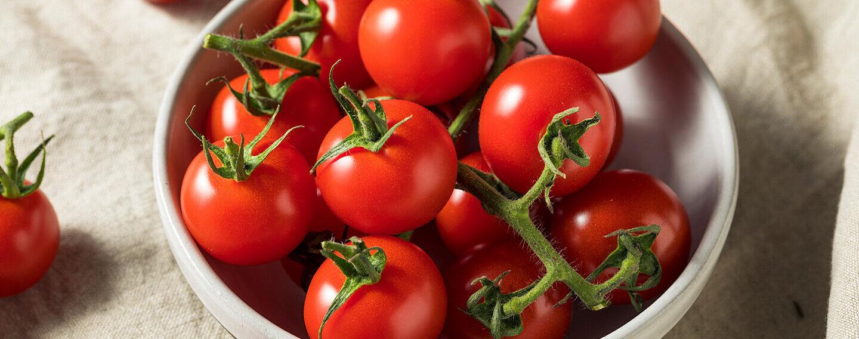 Rote Tomaten liegen in einer Schale.