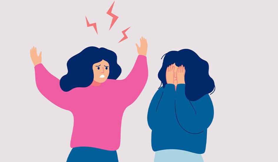 Wenn Freundschaften zerbrechen: Streit zwischen zwei Freundinnen, keine Fotografie, sondern Zeichnung