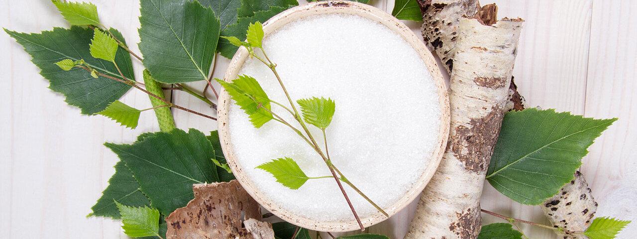 Birkenzucker (Xylit) befindet sich in einer Schale mit Birkenrinde und Blättern daneben.
