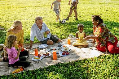Eine große Familie mit Jung und Alt machen ein Picknick zusammen