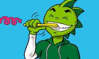 Jolinchen putzt Zähne mit kreisenden Bewegungen.