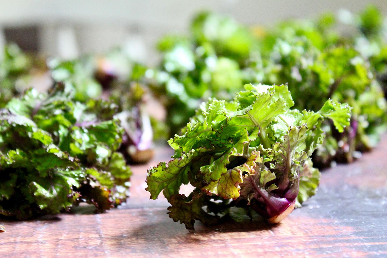 Flower-Sprouts-Röschen liegen auf dem Tisch.